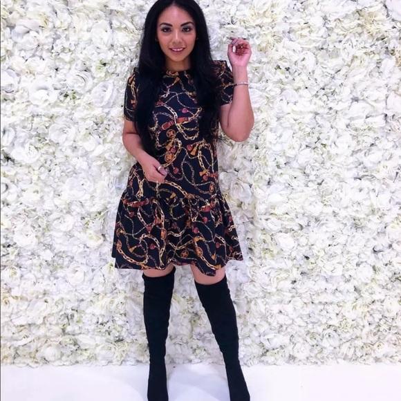 13dd53c5d22 Zara Chain Print Peplum Trendy Tunic Dress Small